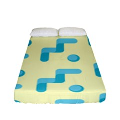 Squiggly Dot Pattern Blue Yellow Circle Fitted Sheet (full/ Double Size) by AnjaniArt