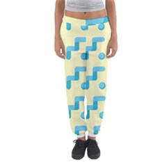 Squiggly Dot Pattern Blue Yellow Circle Women s Jogger Sweatpants by AnjaniArt