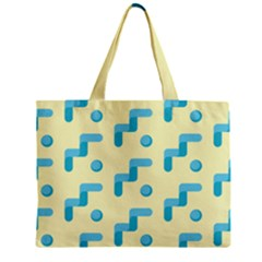 Squiggly Dot Pattern Blue Yellow Circle Zipper Mini Tote Bag by AnjaniArt