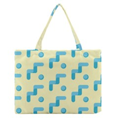 Squiggly Dot Pattern Blue Yellow Circle Medium Zipper Tote Bag by AnjaniArt