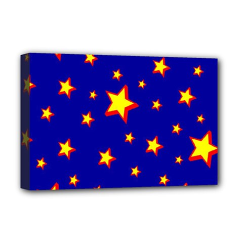 Star Blue Sky Yellow Deluxe Canvas 18  X 12   by AnjaniArt