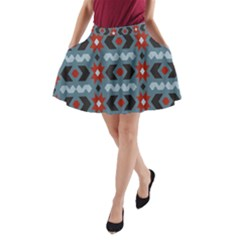 Star Wave Chevron Grey Gray A-Line Pocket Skirt