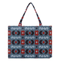Star Wave Chevron Grey Gray Medium Tote Bag by AnjaniArt