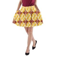 Star Brown Yellow Light A Line Pocket Skirt by AnjaniArt