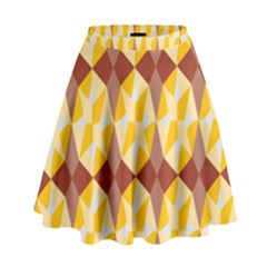 Star Brown Yellow Light High Waist Skirt by AnjaniArt