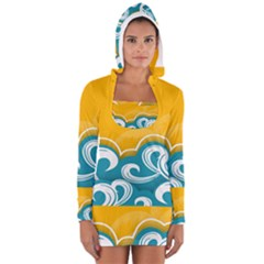 Summer Sea Water Wave Tree Yellow Blue Women s Long Sleeve Hooded T-shirt by AnjaniArt