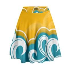 Summer Sea Water Wave Tree Yellow Blue High Waist Skirt by AnjaniArt