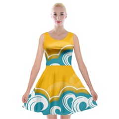 Summer Sea Water Wave Tree Yellow Blue Velvet Skater Dress by AnjaniArt