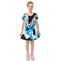 Tangled Rope Blue White Kids  Short Sleeve Velvet Dress by AnjaniArt