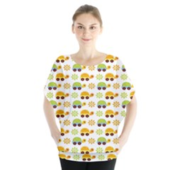 Turtle Green Yellow Flower Animals Blouse by AnjaniArt