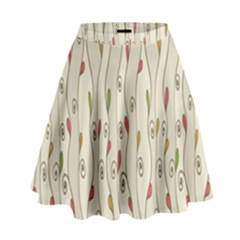 Flower Floral Leaf High Waist Skirt by AnjaniArt