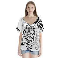 Free Floral Decorative Flutter Sleeve Top by AnjaniArt