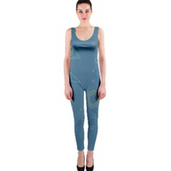 Geometric Debris In Space Blue Onepiece Catsuit by AnjaniArt