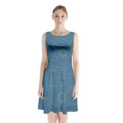 Geometric Debris In Space Blue Sleeveless Chiffon Waist Tie Dress
