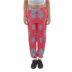 Geometric Snowflake Retro Red Women s Jogger Sweatpants by AnjaniArt