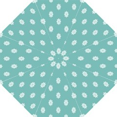 Geometric Snowflake Retro Snow Straight Umbrellas by AnjaniArt