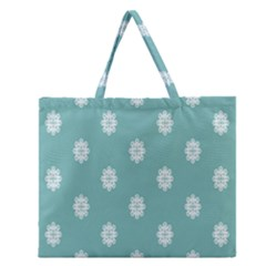 Geometric Snowflake Retro Snow Zipper Large Tote Bag by AnjaniArt