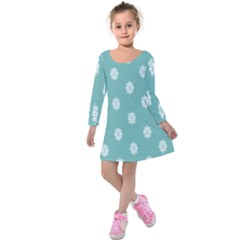 Geometric Snowflake Retro Snow Kids  Long Sleeve Velvet Dress by AnjaniArt