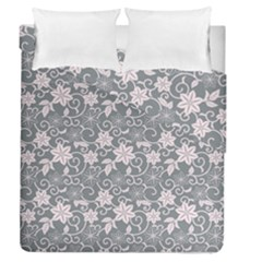 Gray Flower Floral Flowering Leaf Duvet Cover Double Side (Queen Size) by AnjaniArt
