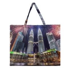 New Years Eve Petronas Towers Kuala Lumpur Malaysia Zipper Large Tote Bag by Onesevenart