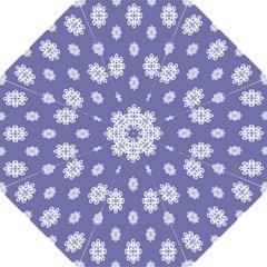 Geometric Snowflake Retro Purple Straight Umbrellas by AnjaniArt
