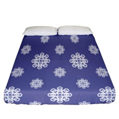Geometric Snowflake Retro Purple Fitted Sheet (california King Size) by AnjaniArt