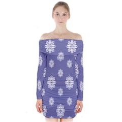 Geometric Snowflake Retro Purple Long Sleeve Off Shoulder Dress by AnjaniArt