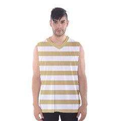 Horizontal Stripes Dark Brown Grey Men s Basketball Tank Top by AnjaniArt