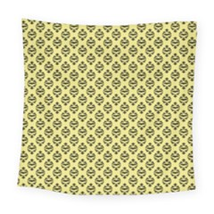Halloween Scrapbook Paper Bat Yellow Square Tapestry (large) by AnjaniArt
