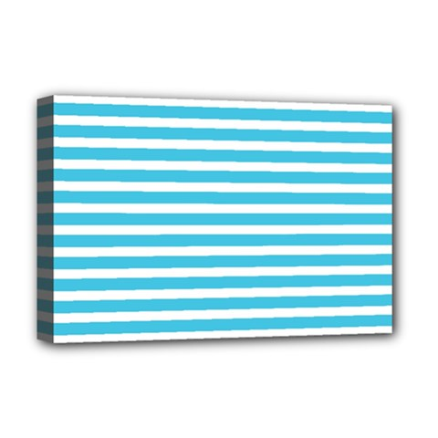 Horizontal Stripes Blue Deluxe Canvas 18  X 12   by AnjaniArt