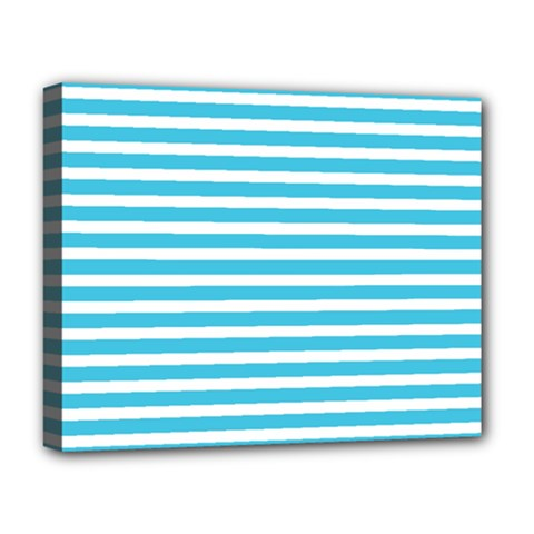 Horizontal Stripes Blue Deluxe Canvas 20  X 16   by AnjaniArt