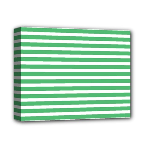 Horizontal Stripes Green Deluxe Canvas 14  X 11  by AnjaniArt