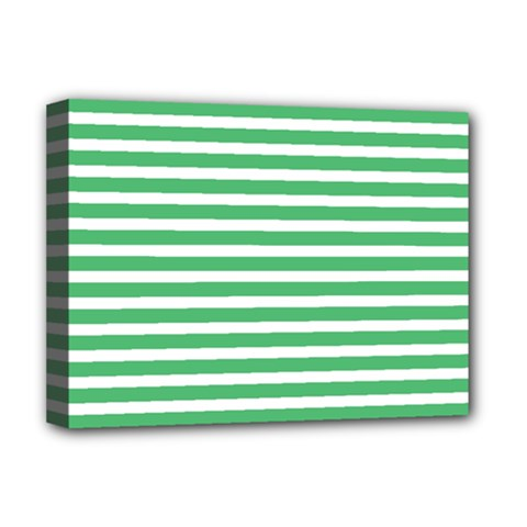 Horizontal Stripes Green Deluxe Canvas 16  X 12   by AnjaniArt