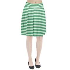 Horizontal Stripes Green Pleated Skirt by AnjaniArt