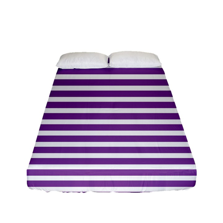 Horizontal Stripes Purple Fitted Sheet (Full/ Double Size)