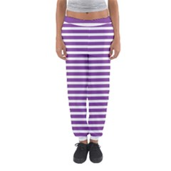 Horizontal Stripes Purple Women s Jogger Sweatpants by AnjaniArt