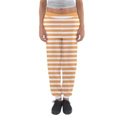 Horizontal Stripes Orange Women s Jogger Sweatpants by AnjaniArt