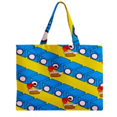 Machine Washing Clothes Blue Yellow Dirty Mini Tote Bag by AnjaniArt