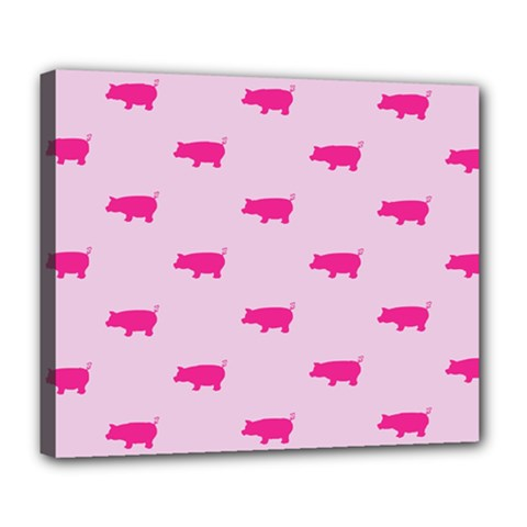 Pig Pink Animals Deluxe Canvas 24  X 20   by AnjaniArt