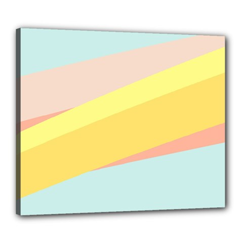 Pink Green Yellow Line Flag Canvas 24  X 20