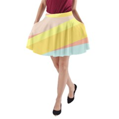 Pink Green Yellow Line Flag A-Line Pocket Skirt