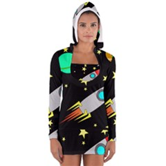 Planet Saturn Rocket Star Women s Long Sleeve Hooded T-shirt by AnjaniArt