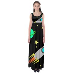 Planet Saturn Rocket Star Empire Waist Maxi Dress by AnjaniArt