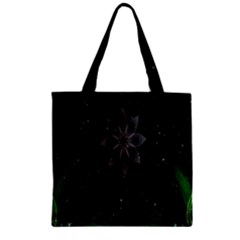 Night Sky Flower Zipper Grocery Tote Bag by AnjaniArt