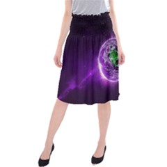 Purple Space Planet Earth Midi Beach Skirt by AnjaniArt