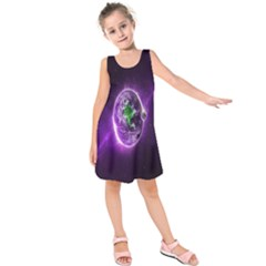 Purple Space Planet Earth Kids  Sleeveless Dress by AnjaniArt