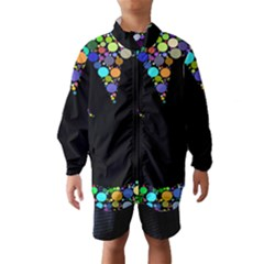 Prismatic Negative Space Comic Peace Hand Circles Wind Breaker (kids) by AnjaniArt