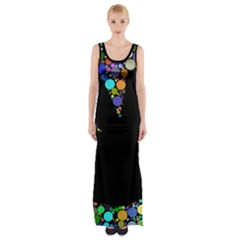 Prismatic Negative Space Comic Peace Hand Circles Maxi Thigh Split Dress by AnjaniArt