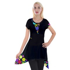 Prismatic Negative Space Comic Peace Hand Circles Short Sleeve Side Drop Tunic by AnjaniArt