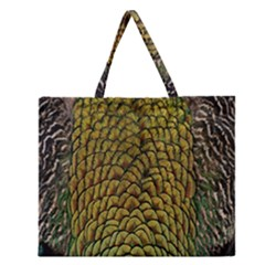 Peacock Bird Feather Color Zipper Large Tote Bag by AnjaniArt